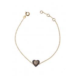 """Bracelet plaqué or """"cœur"""" céramique et zircons 17+2 cm"""