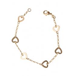 """Bracelet """"cœurs"""" plaqué or 19 cm"""