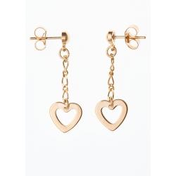 """Boucles d'oreille """"cœur"""" plaquées or chaine 1,5 cm"""