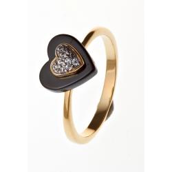 """Bague plaquée or """"cœur"""" céramique et zircons T 50 à 60"""