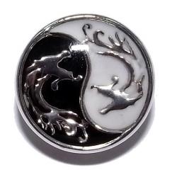 Bouton pression métal et epoxy yin yang