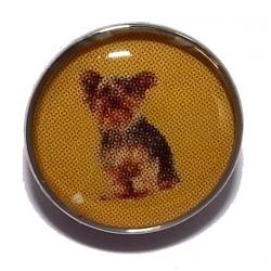 Bouton pression métal et epoxy chien
