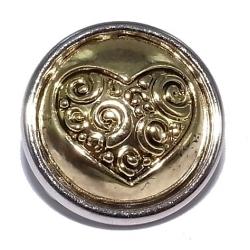 Bouton pression métal 2 tons cœur