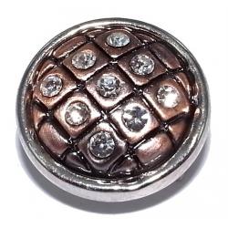 Bouton pression métal et strass 2 tons