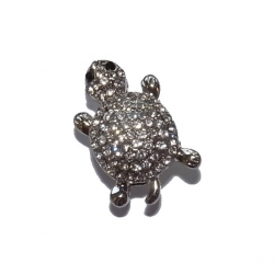 "Bouton pression ""tortue et strass blancs"" taille G"