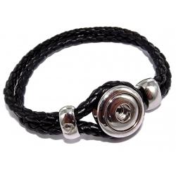 Bracelet imitation cuir tressé pour 1 bouton pression