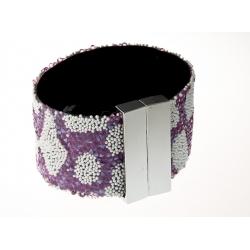 Bracelet fantaisie strass dominante rose - fermoir aimant - 17 x 3,5 cm