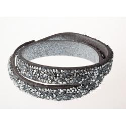 Bracelet fantaisie gris strass gris - 2 tours
