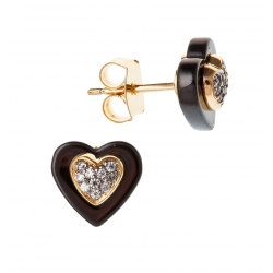 """Boucles d'oreille plaquée or """"cœur"""" céramique et zircons"""