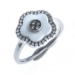 """Bague en céramique blanche – argent rhodié 2,7g """"fleurs"""" - zircons - ep. 1,8 mm"""