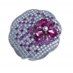 Bague en argent rhodié 5,8g - zircons - rubis synthétique - T 50 à 60