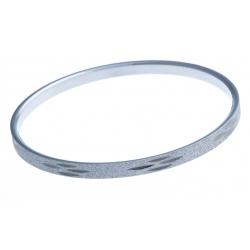Jonc - acier blanc - finition diamantée - 70 mm