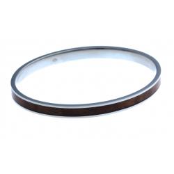 Jonc en acier oval - en bois KOA d'Hawaii incrusté - diam. int. 65x55 mm