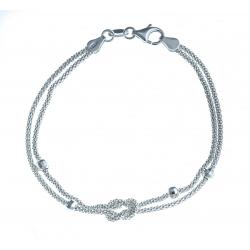 """Bracelet en argent 3,6g """" nœud et boules facettées""""- 18,5 cm"""