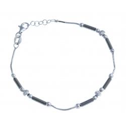 Bracelet en argent rhodié 4,1g - 2 tons - 17,5 +1 cm