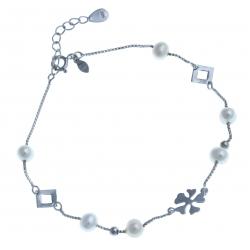 Bracelet en argent rhodié 1,9g - perles véritables blanches - 20+3cm
