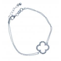Bracelet en argent rhodié 2,8g - strass - 17+2,5 cm