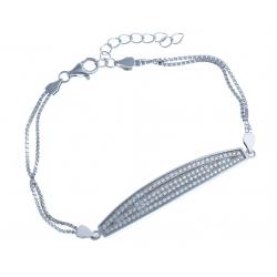 Bracelet en argent rhodié 6,3g - zircons - 17+3 cm