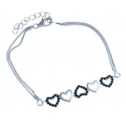 Bracelet en argent rhodié 4,3g - zircons noirs - 16,5+3 cm