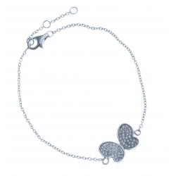 """Bracelet en argent rhodié 2,5g """"papillon"""" - zircons 16,5+1+1cm"""