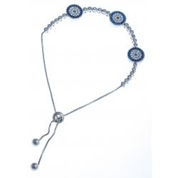 Bracelet en argent rhodié 8,8g - zircons blancs et bleus - réglable