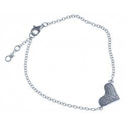 """Bracelet en argent rhodié 2,7g """"cœurs"""" - zircons - 17+1+1cm"""
