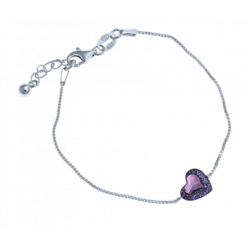 Bracelet en argent rhodié 1,8g , \u0026quot;cœur\u0026quot; , cristal de swarovski violet , 18,5cm