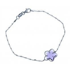 Bracelet en argent rhodié 2,4g - cristal de swarovski violet - 18,5cm