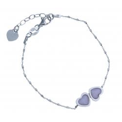 """Bracelet en argent rhodié 2,8g """"cœurs"""" - cristal de swarovski rose - 17+3 cm"""