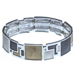 Bracelet fantaisie avec epoxy doré, blanc et gris élastique