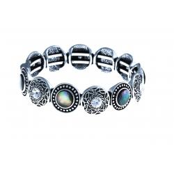 Bracelet fantaisie - vieil argent - nacre -  cristal - fermoir aimant - diam. 60