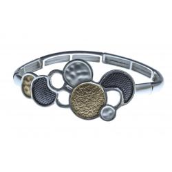 Bracelet fantaisie - epoxy doré, blanc et gris - élastique