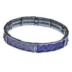 Bracelet fantaisie - résines violettes - élastique