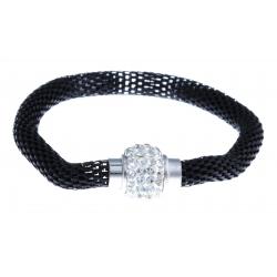 Bracelet fantaisie mailles noires et strass - fermoir aimant - 20 cm