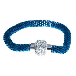 Bracelet fantaisie mailles bleues et strass - fermoir aimant - 20 cm
