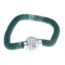 Bracelet fantaisie mailles vertes et strass - fermoir aimant - 20 cm