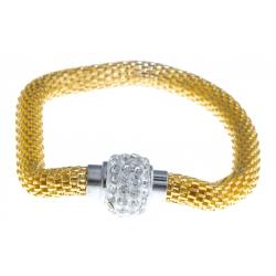 Bracelet fantaisie mailles dorées et strass - fermoir aimant - 20 cm