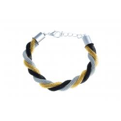 Bracelet fantaisie mailles noires, dorées et grises - 18+3 cm