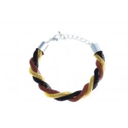 Bracelet fantaisie mailles noires, dorées et rouges - 18+3 cm