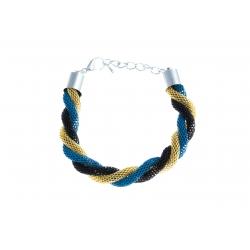 Bracelet fantaisie mailles noires, dorées et violettes - 18+3 cm
