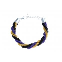Bracelet fantaisie mailles noires, dorées et bleues - 18+3 cm