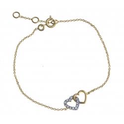 """Bracelet plaqué or """"cœur"""" - zircons - 17+1+1 cm"""