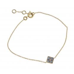 Bracelet plaqué or - zircons - 17+1+1 cm