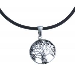 """Collier acier """"arbre de vie"""" - caoutchouc noir - 42cm"""
