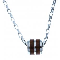 "Collier en acier - bois KOA d'Hawaii incrusté ""tonneau"" - 50 cm"