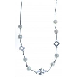 Collier en argent rhodié 2,4g - perles véritables blanches -  43 cm