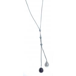 Collier en argent rhodié 2,5g - perles véritables blanches et noires  - 41 cm