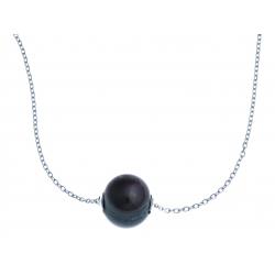 Collier en argent rhodié 2g - perle véritable noire - 43 cm