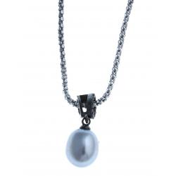 Collier en argent rhodié 3,3g 2 tons - perle véritable grise - zircon noirs 45c
