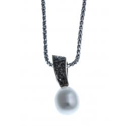 Collier en argent rhodié 3,9g 2 tons - perle véritable blanche zircons noirs 45